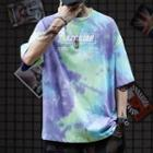 Lettering Applique Tie-dye Elbow-sleeve T-shirt