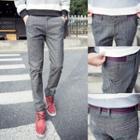 Plaid Linen Cotton Skinny Pants