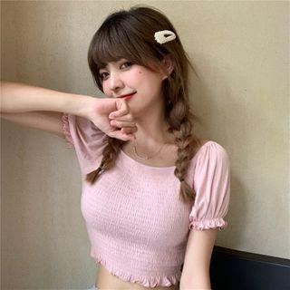 Short-sleeve Frill Trim Shirred Cropped Top