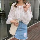 Cheery Print Chiffon Blouse White - One Size