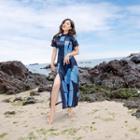 Printed Short Sleeve Side Slit Midi Dress