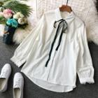 Crochet Trim Bow Accent Shirt White - One Size