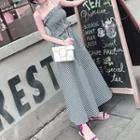 Set: Plaid Strapless Top + Plaid Maxi Skirt