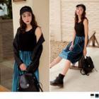 Velvet Pleated Sleeveless Dress