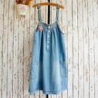 Buttoned Denim Jumper Dress