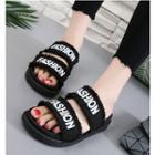 Lettering Slide Platform Sandals