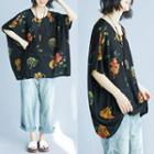 Elbow-sleeve Floral Print Oversized Top