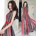 Sleeveless Color Striped Maxi Dress With Belt