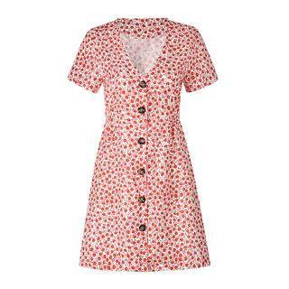 Short-sleeve Floral Print Button Mini A-line Dress