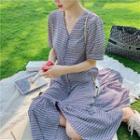 Patterned Short-sleeve Chiffon Midi A-line Dress