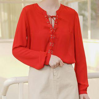 Long-sleeve Chiffon Blouse Red - One Size