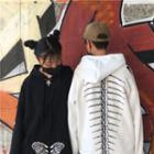 Couple Matching Long-sleeve Printed Hooded Top