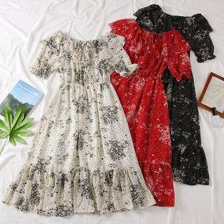Boatneck Ruffled-trim Floral Dress