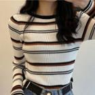 Long-sleeve Round Neck Striped Knit Top