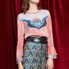 Long-sleeve Lace Panel Embroidered Velvet Top