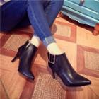 Buckled Pointed Heeled Ankle Boots