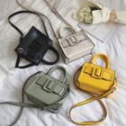 Faux Leather Belted Handbag