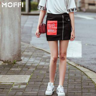 Appliqu  Zipped Mini Skirt
