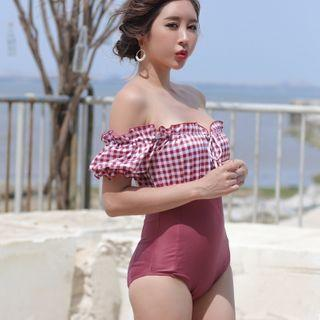 Off-shoulder Frilled Trim Panel Swimsuit