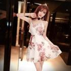 Strappy Floral Print Chiffon Dress