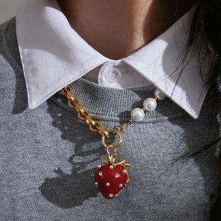 Strawberry Pendant Necklace 1 Pc - Necklace - Strawberry - Red - One Size