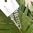 Beaded Cluster Drop Earrings White - One Size