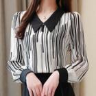 Long-sleeve Striped Chiffon Blouse / Long-sleeve Dotted Chiffon Blouse