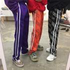 Striped Trim Printed Sweatpants