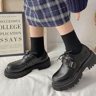 Platform Fleece Lined Oxford Shoes
