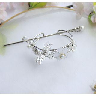 Retro Faux Pearl Flower & Dragonfly Hair Pin Hair Pin & Tiara & Gift Box - One Size