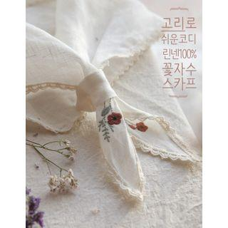 Floral Embroidered Lace-trim Lightweight Scarf