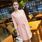 3/4-sleeve Drawstring-waist Dress