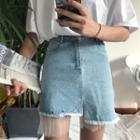 Mesh Panel Fray Denim Skirt