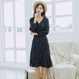 Dotted Long-sleeve Chiffon Midi Dress