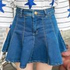 Washed Denim A-line Skirt