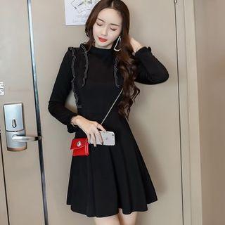 3/4-sleeve Frill-trim Mini A-line Dress