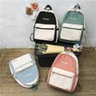 Letter Embroidered Color Panel Nylon Backpack