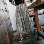 Band-waist Patterned Maxi Skirt