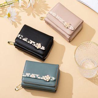 Floral Panel Multi-section Short Wallet