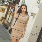 Short-sleeve Multicolor-stripe Knit Bodycon Dress