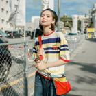 Elbow-sleeve Striped Cherry Accent Knit Top