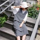 Sleeveless Slit-hem Check Shift Dress
