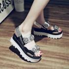 Flower Embellished Platform Sandals