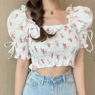 Short-sleeve Embroidered Cropped Blouse White - One Size