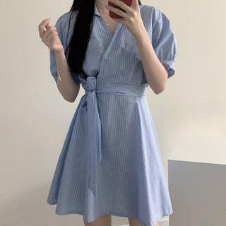 Puff Short-sleeve V Neck Striped Dress