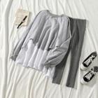 Mock-two Loose-fit Pullover / Plain Leggings
