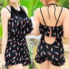 Lipstick Print Ruffled Swimsuit