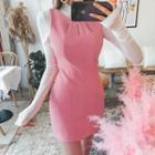 Slit-detail Sleeveless Mini Sheath Dress
