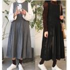 Pleated Sleeveless A-line Midi Dress