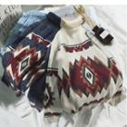 Pattern Turtleneck Sweater
